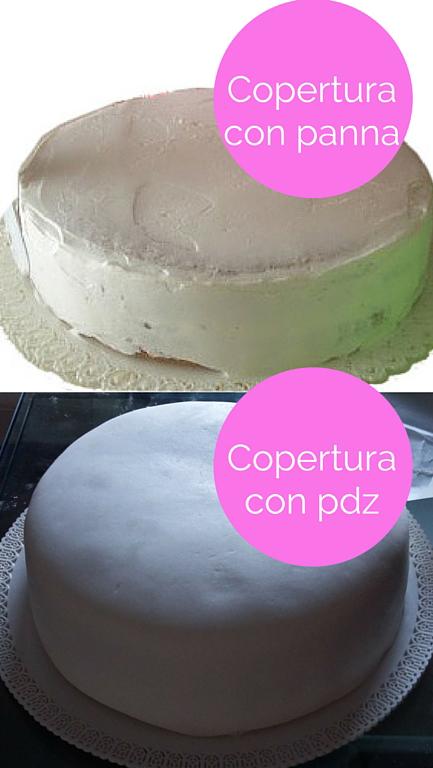 copertura torta con panna o pasta di zucchero