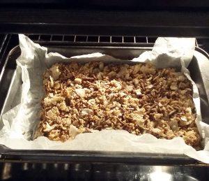 strato di barrette di cereali in forno